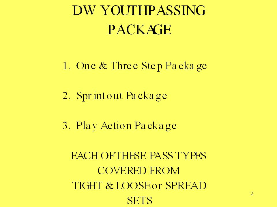 43 DW PLAY ACTION PASSING PACKAGE Tight Play Action Passes; Loose or Spread Play Action Passes