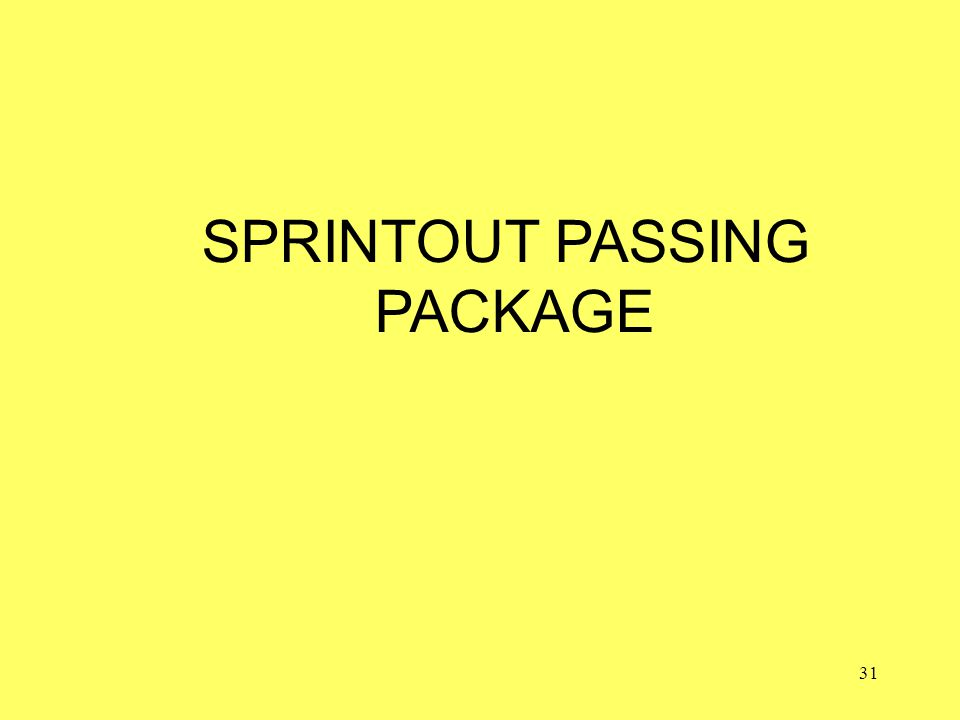 31 SPRINTOUT PASSING PACKAGE