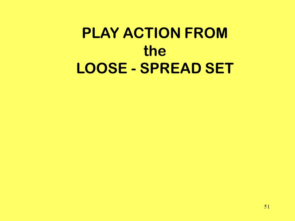 51 PLAY ACTION FROM the LOOSE - SPREAD SET