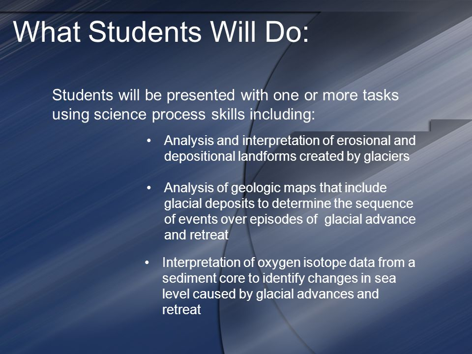 What Students Will Do: Students will be presented with one or more tasks using science process skills including: Analysis and interpretation of erosional and depositional landforms created by glaciers Analysis of geologic maps that include glacial deposits to determine the sequence of events over episodes of glacial advance and retreat Interpretation of oxygen isotope data from a sediment core to identify changes in sea level caused by glacial advances and retreat