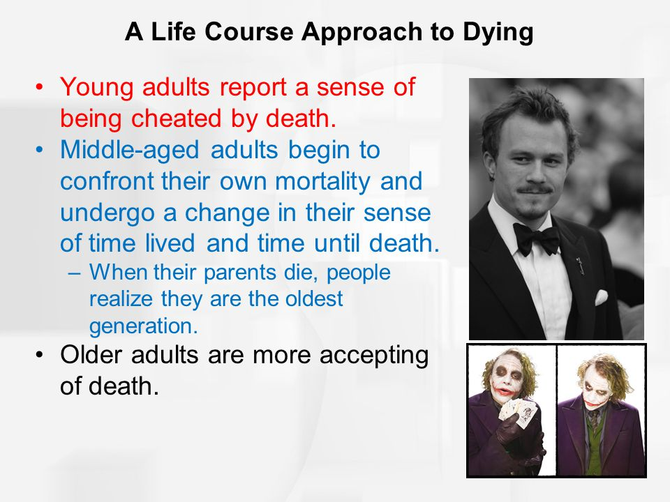 Coping with Death: Kübler-Ross's 5-Stage Theory DENIAL: Often first reaction; likely to be shock and disbelief ANGER: At some point people express anger (hostility, resentment, frustration, envy) BARGAINING: Looking for a way out; setting a timetable DEPRESSION: Occurs when one can no longer deny the illness ACCEPTANCE: Realizing that death is inevitable; often results in detachment from the world and sense of peace.
