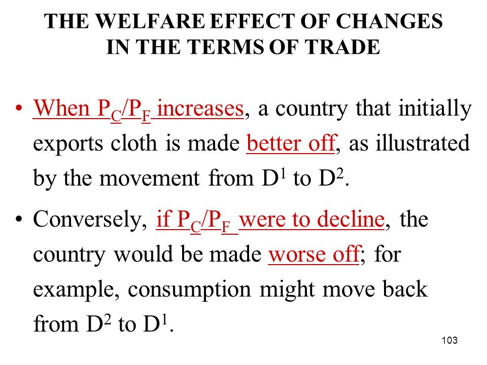 103 THE WELFARE EFFECT OF CHANGES IN THE TERMS OF TRADE When P C /P F increases, a country that initially exports cloth is made better off, as illustrated by the movement from D 1 to D 2.