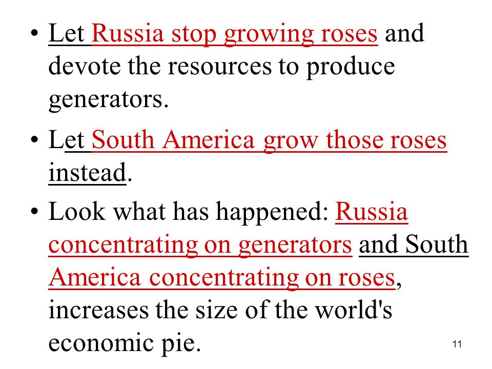 11 Let Russia stop growing roses and devote the resources to produce generators.