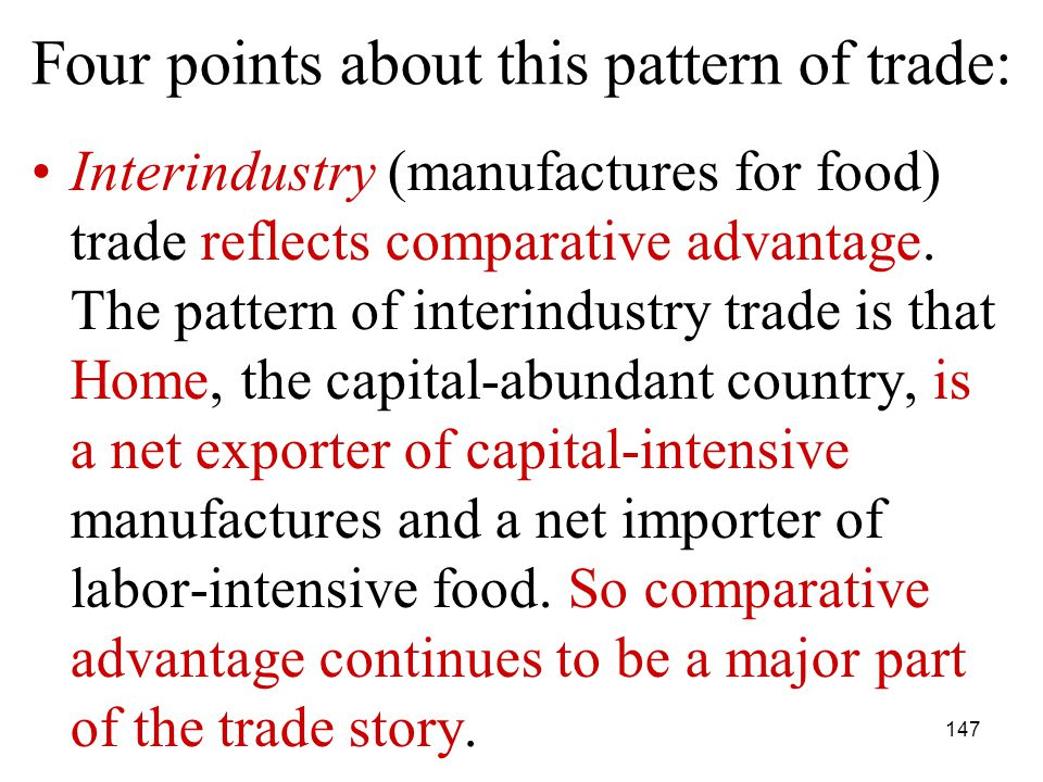 147 Interindustry (manufactures for food) trade reflects comparative advantage.