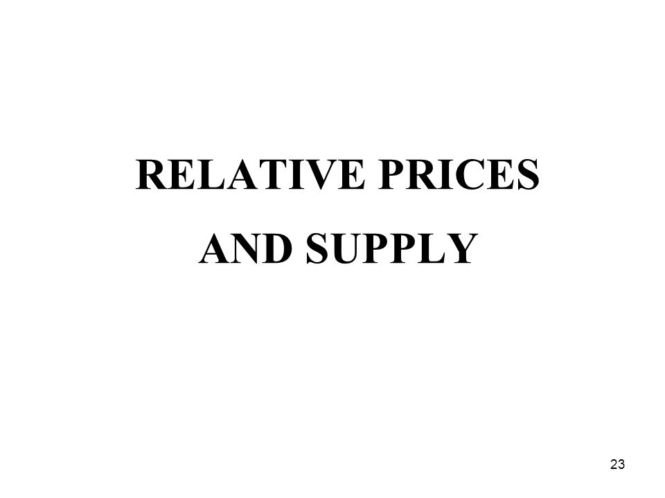 23 RELATIVE PRICES AND SUPPLY
