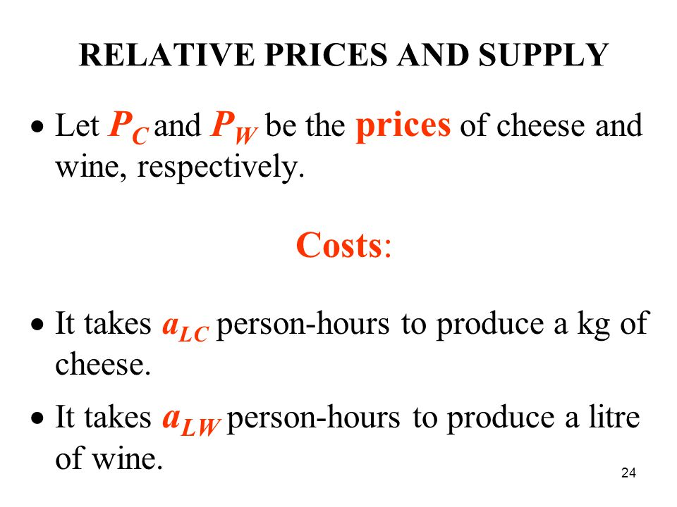 24 RELATIVE PRICES AND SUPPLY  Let P С and P W be the prices of cheese and wine, respectively.
