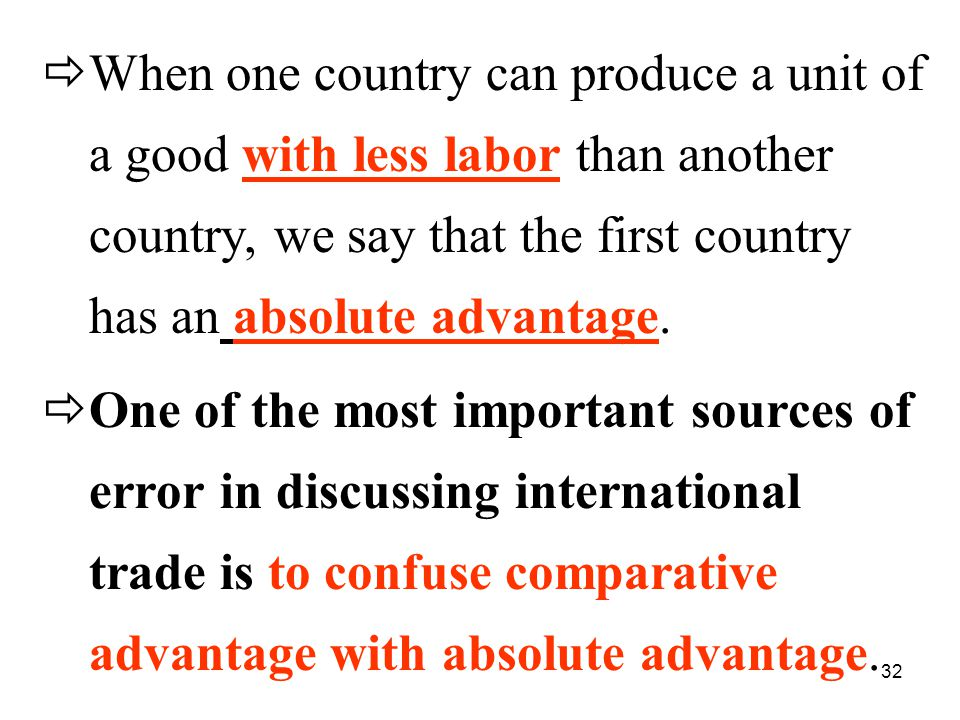 32  When one country can produce a unit of a good with less labor than another country, we say that the first country has an absolute advantage.