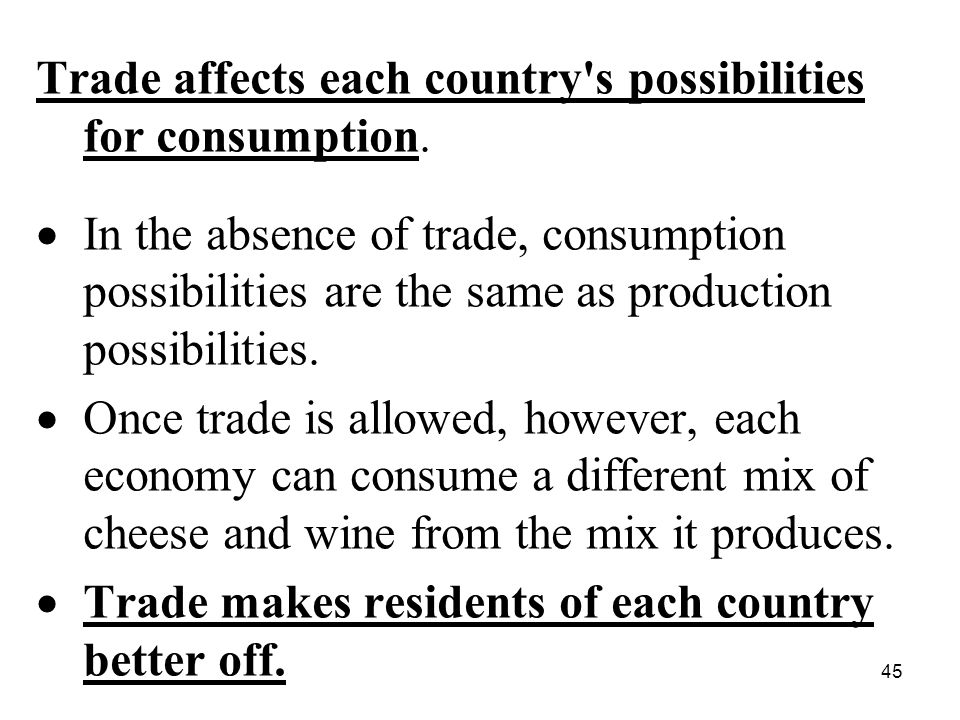 45 Trade affects each country s possibilities for consumption.
