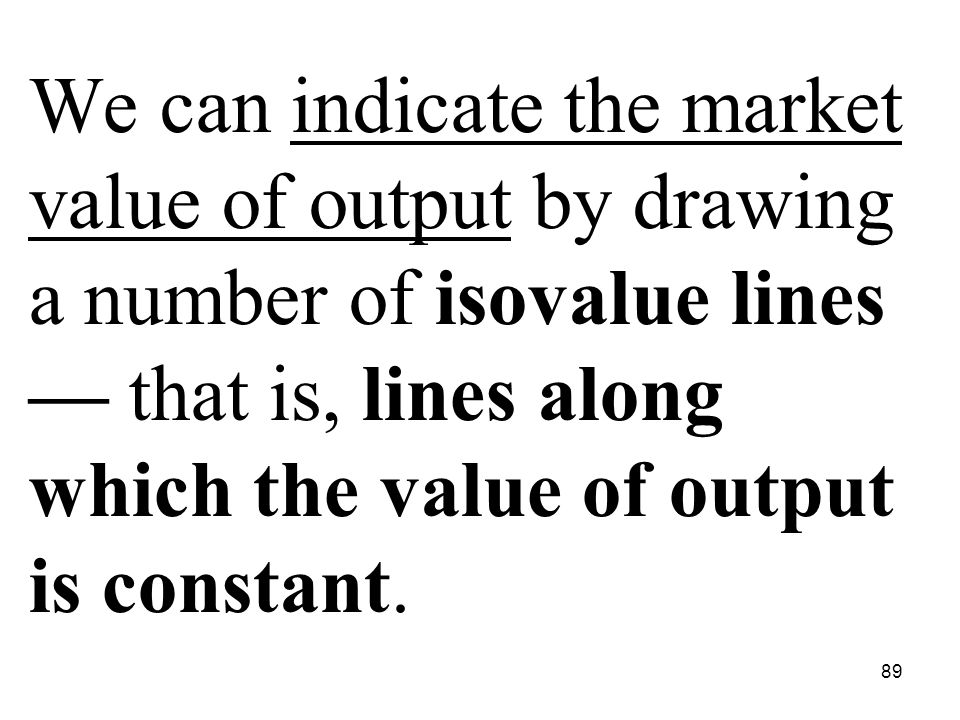 89 We can indicate the market value of output by drawing a number of isovalue lines — that is, lines along which the value of output is constant.