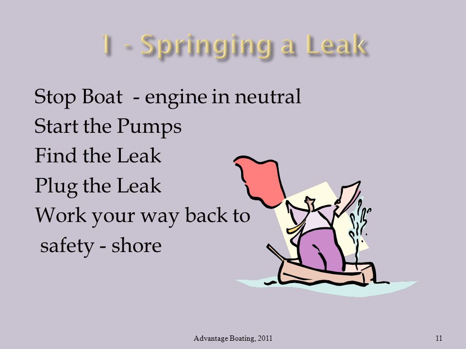 Stop Boat - engine in neutral Start the Pumps Find the Leak Plug the Leak Work your way back to safety - shore Advantage Boating, 201111