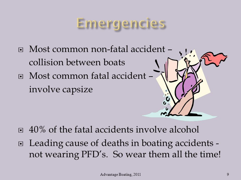  Most common non-fatal accident – collision between boats  Most common fatal accident – involve capsize  40% of the fatal accidents involve alcohol  Leading cause of deaths in boating accidents - not wearing PFD's.