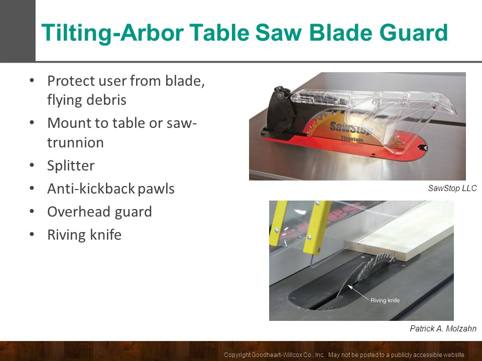 Copyright Goodheart-Willcox Co., Inc. May not be posted to a publicly accessible website. Protect user from blade, flying debris Mount to table or saw