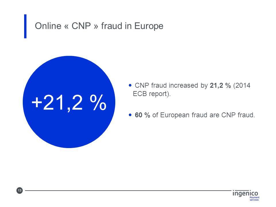 13 Online « CNP » fraud in Europe +21,2 %  CNP fraud increased by 21,2 % (2014 ECB report).
