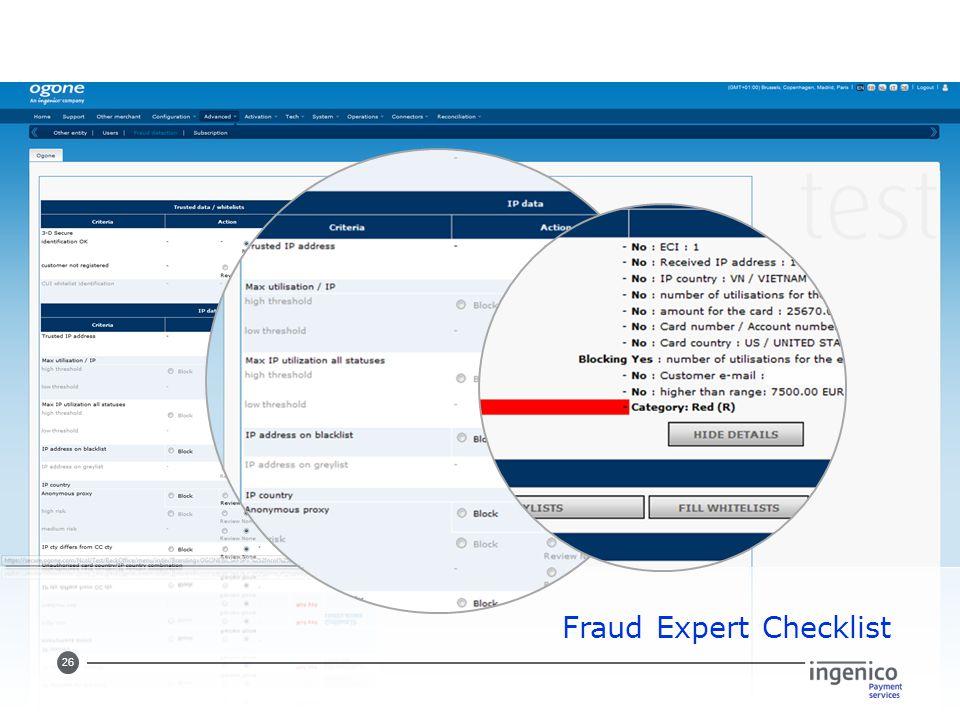 26 Fraud Expert Checklist