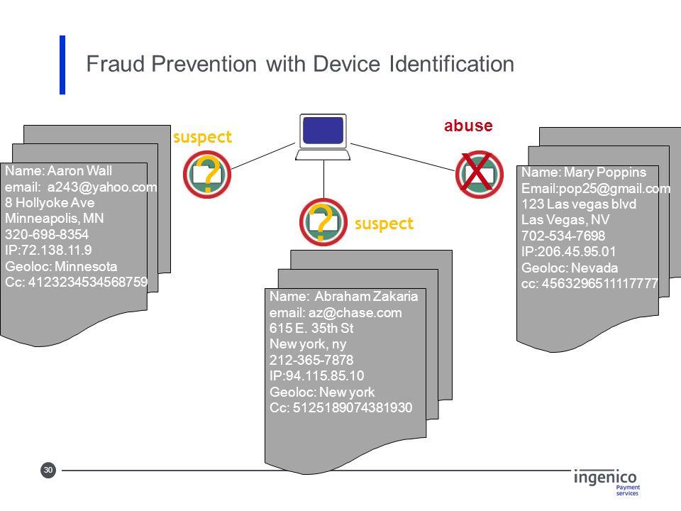 30 Fraud Prevention with Device Identification abuse X Name: Mary Poppins Email:pop25@gmail.com 123 Las vegas blvd Las Vegas, NV 702-534-7698 IP:206.45.95.01 Geoloc: Nevada cc: 4563296511117777 Name: Abraham Zakaria email: az@chase.com 615 E.