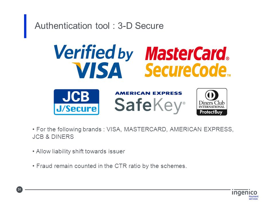 31 Authentication tool : 3-D Secure For the following brands : VISA, MASTERCARD, AMERICAN EXPRESS, JCB & DINERS Allow liability shift towards issuer F