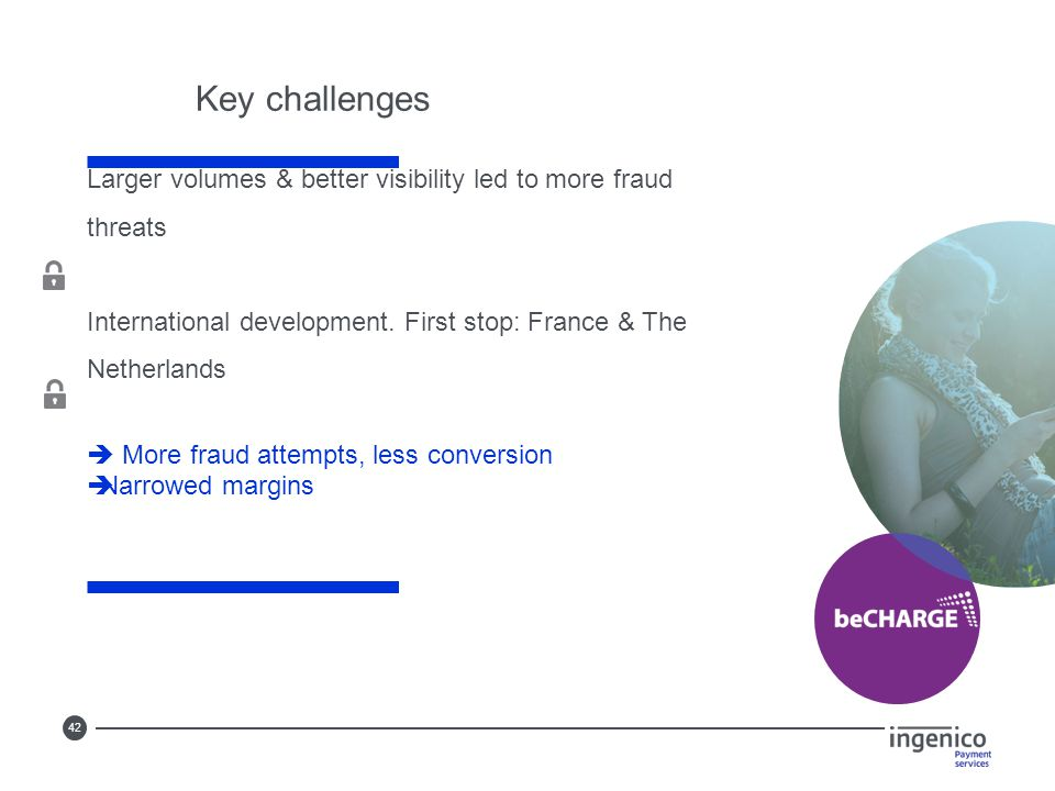 42 Larger volumes & better visibility led to more fraud threats International development. First stop: France & The Netherlands  More fraud attempts,
