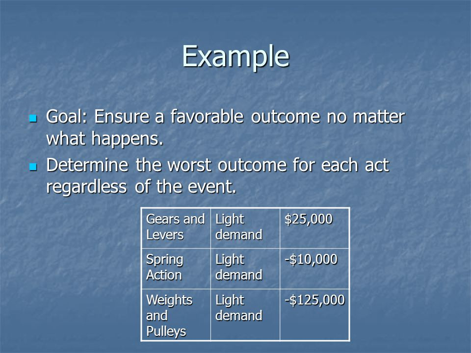 Example Goal: Ensure a favorable outcome no matter what happens.