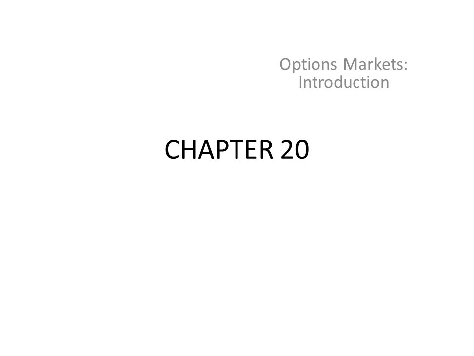 CHAPTER 20 Options Markets: Introduction