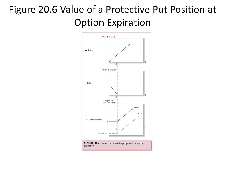 Figure 20.6 Value of a Protective Put Position at Option Expiration