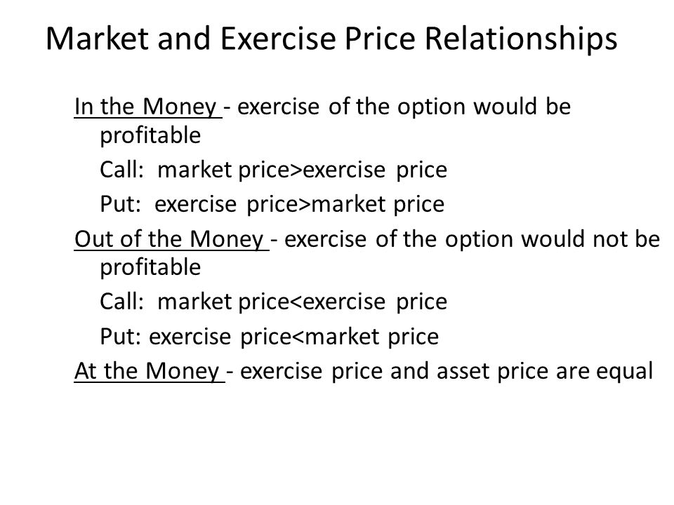 In the Money - exercise of the option would be profitable Call: market price>exercise price Put: exercise price>market price Out of the Money - exercise of the option would not be profitable Call: market price<exercise price Put: exercise price<market price At the Money - exercise price and asset price are equal Market and Exercise Price Relationships