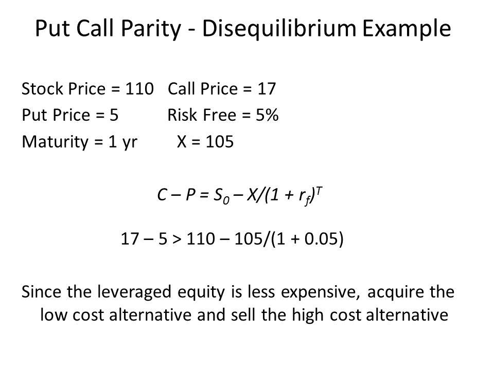 Stock Price = 110 Call Price = 17 Put Price = 5 Risk Free = 5% Maturity = 1 yr X = 105 C – P = S 0 – X/(1 + r f ) T 17 – 5 > 110 – 105/(1 + 0.05) Sinc