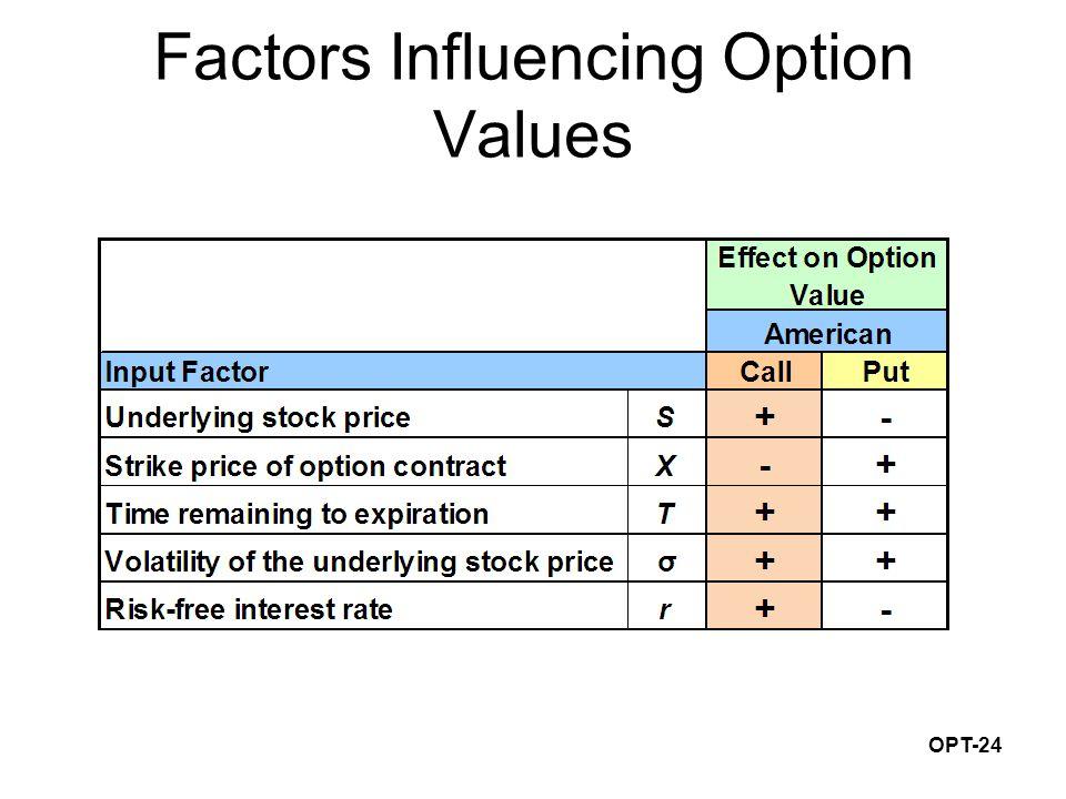 OPT-24 Factors Influencing Option Values