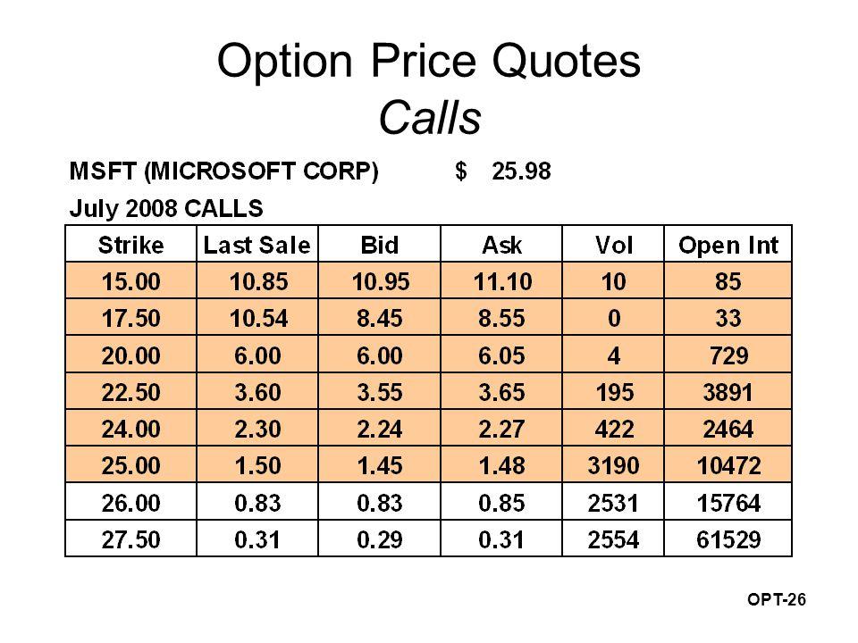 OPT-26 Option Price Quotes Calls
