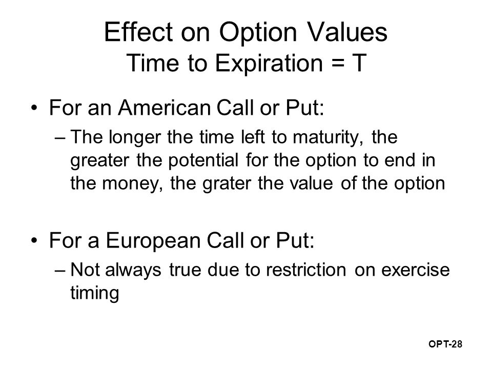 OPT-28 Effect on Option Values Time to Expiration = T For an American Call or Put: –The longer the time left to maturity, the greater the potential for the option to end in the money, the grater the value of the option For a European Call or Put: –Not always true due to restriction on exercise timing