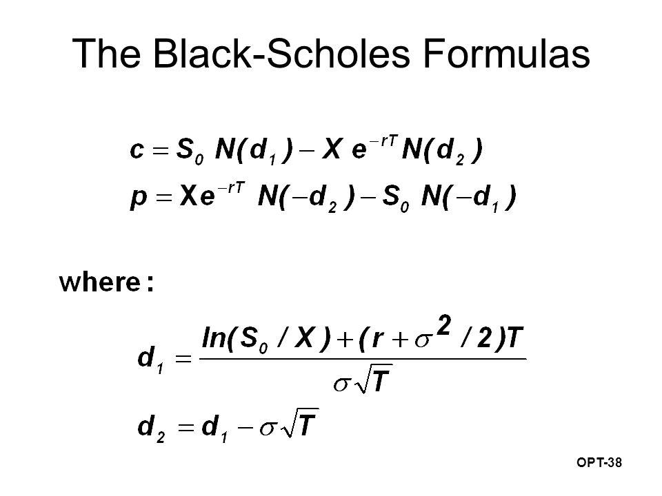 OPT-38 The Black-Scholes Formulas