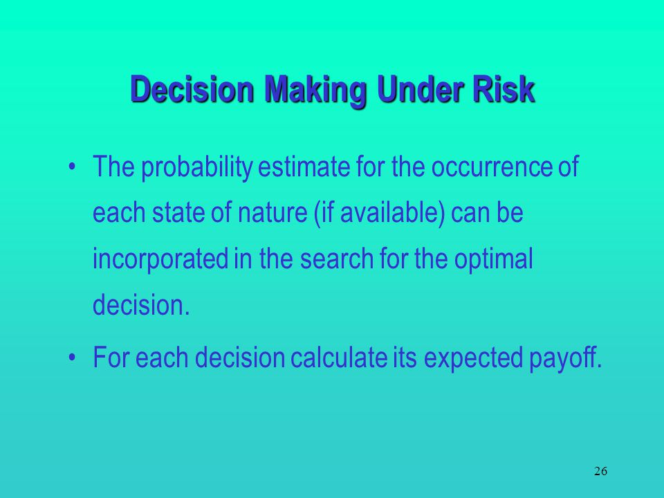 25 Decision Making Under Uncertainty – Spreadsheet template