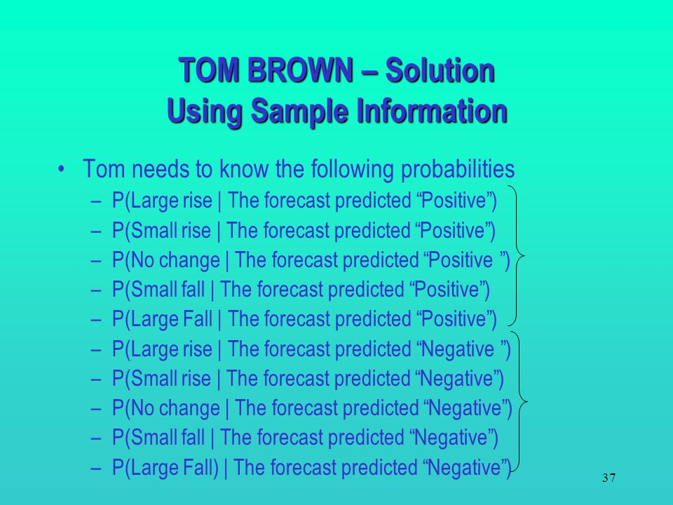 36 If the expected gain resulting from the decisions made with the forecast exceeds $50, Tom should purchase the forecast. The expected gain = Expecte