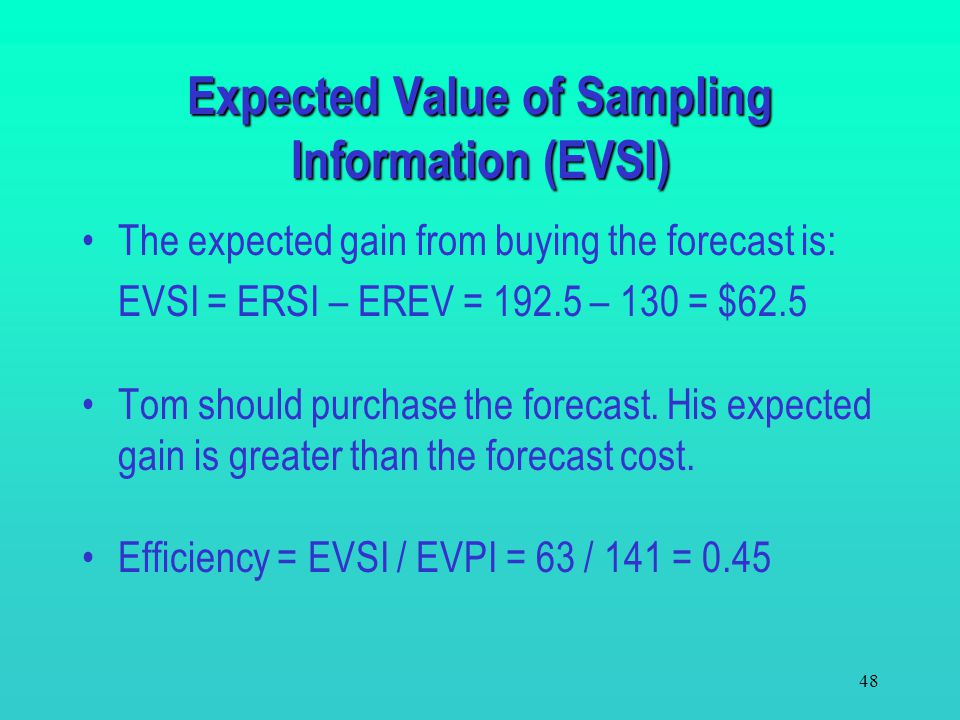 47 Since the forecast is unknown before it is purchased, Tom can only calculate the expected return from purchasing it. Expected return when buying th