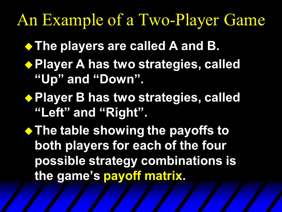 An Example of a Two-Player Game This is the game's payoff matrix.