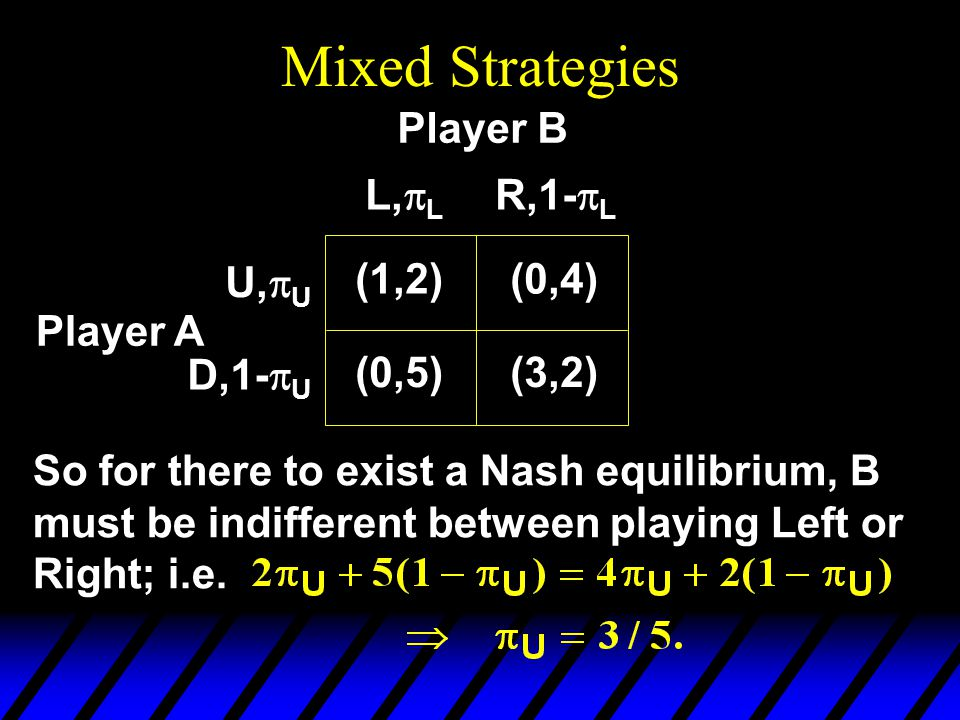 Mixed Strategies Player A So for there to exist a Nash equilibrium, B must be indifferent between playing Left or Right; i.e.