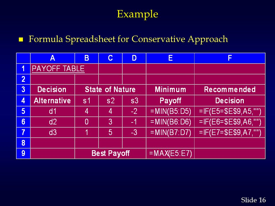 16 Slide Example n Formula Spreadsheet for Conservative Approach