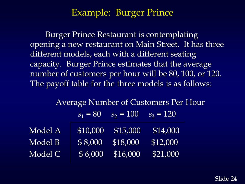 24 Slide Example: Burger Prince Burger Prince Restaurant is contemplating opening a new restaurant on Main Street. It has three different models, each