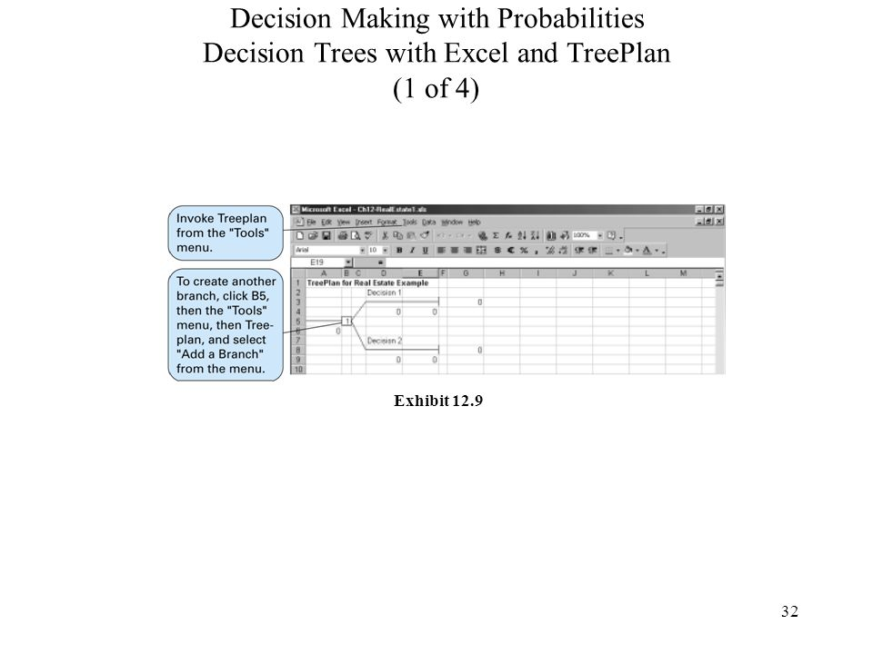 32 Decision Making with Probabilities Decision Trees with Excel and TreePlan (1 of 4) Exhibit 12.9