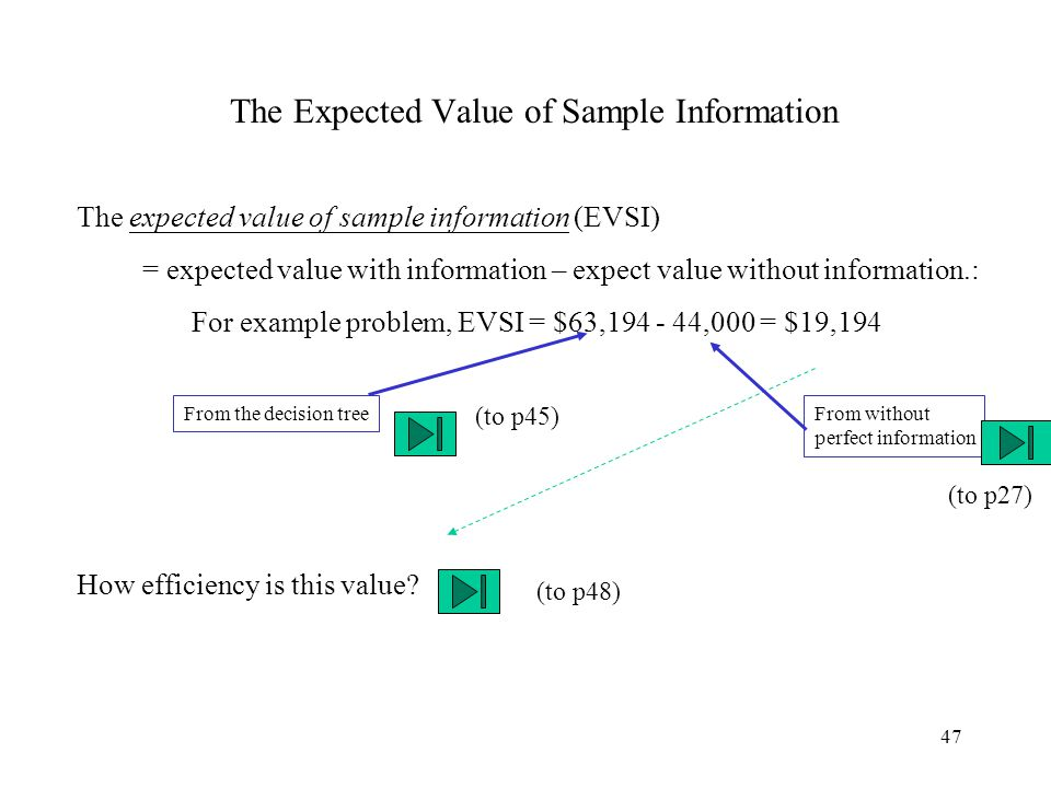 47 The Expected Value of Sample Information The expected value of sample information (EVSI) = expected value with information – expect value without i