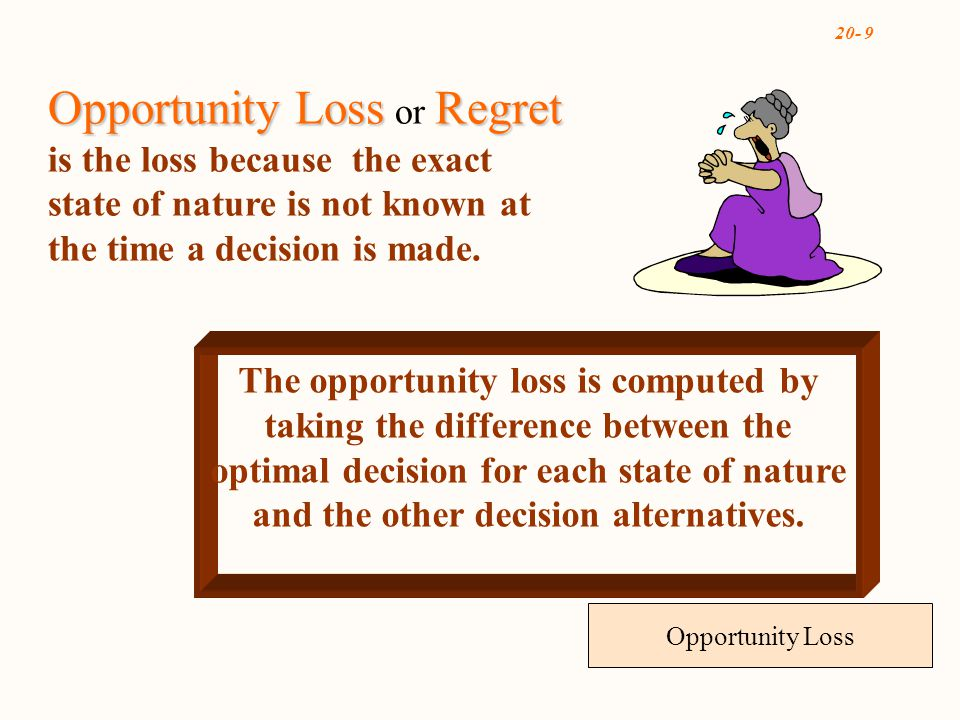 20- 9 Opportunity Loss The opportunity loss is computed by taking the difference between the optimal decision for each state of nature and the other decision alternatives.
