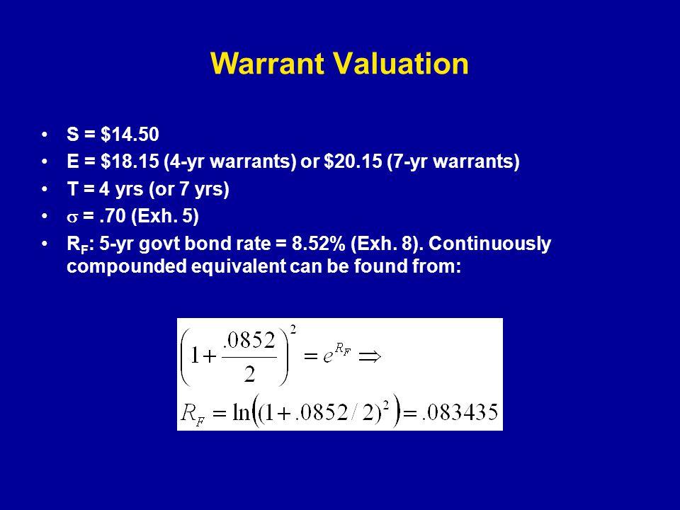 Warrant Valuation S = $14.50 E = $18.15 (4-yr warrants) or $20.15 (7-yr warrants) T = 4 yrs (or 7 yrs)  =.70 (Exh.