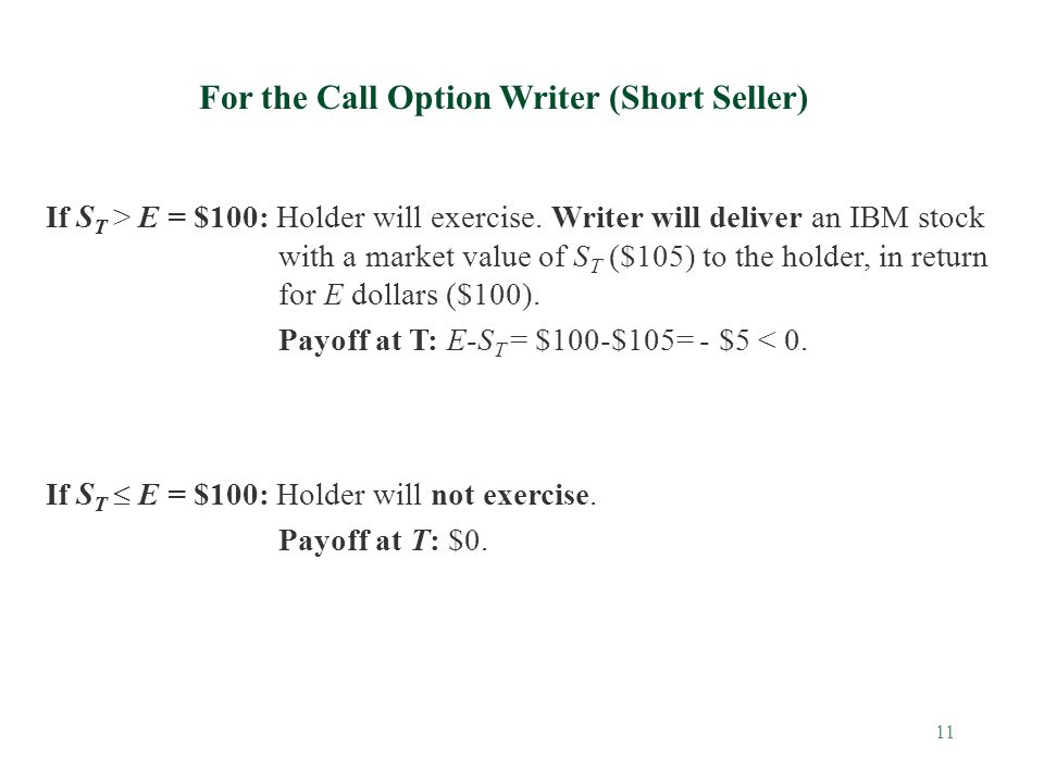 11 For the Call Option Writer (Short Seller) If S T > E = $100: Holder will exercise.