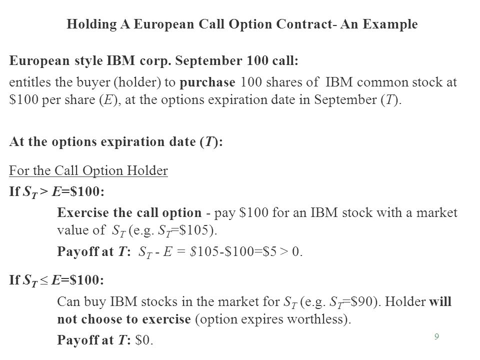 9 Holding A European Call Option Contract- An Example European style IBM corp.