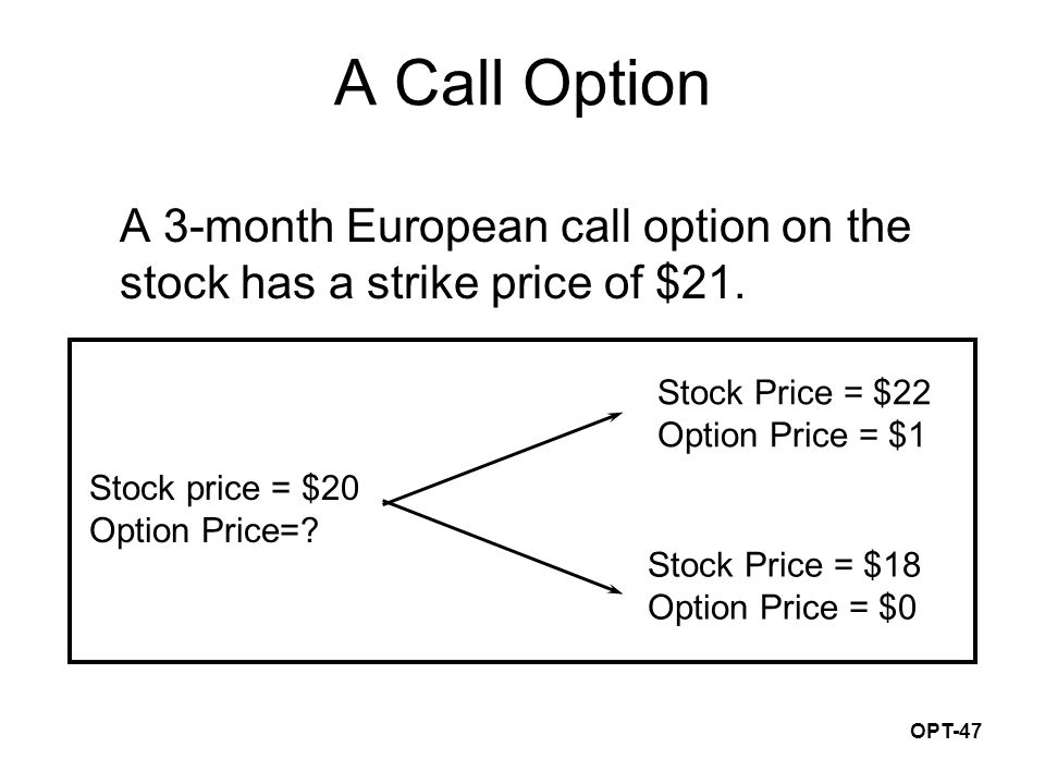 OPT-47 Stock Price = $22 Option Price = $1 Stock Price = $18 Option Price = $0 Stock price = $20 Option Price=? A Call Option A 3-month European call