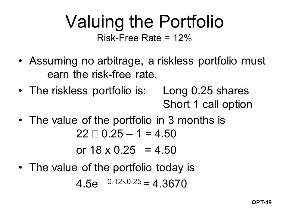 OPT-49 Valuing the Portfolio Risk-Free Rate = 12% Assuming no arbitrage, a riskless portfolio must earn the risk-free rate. The riskless portfolio is: