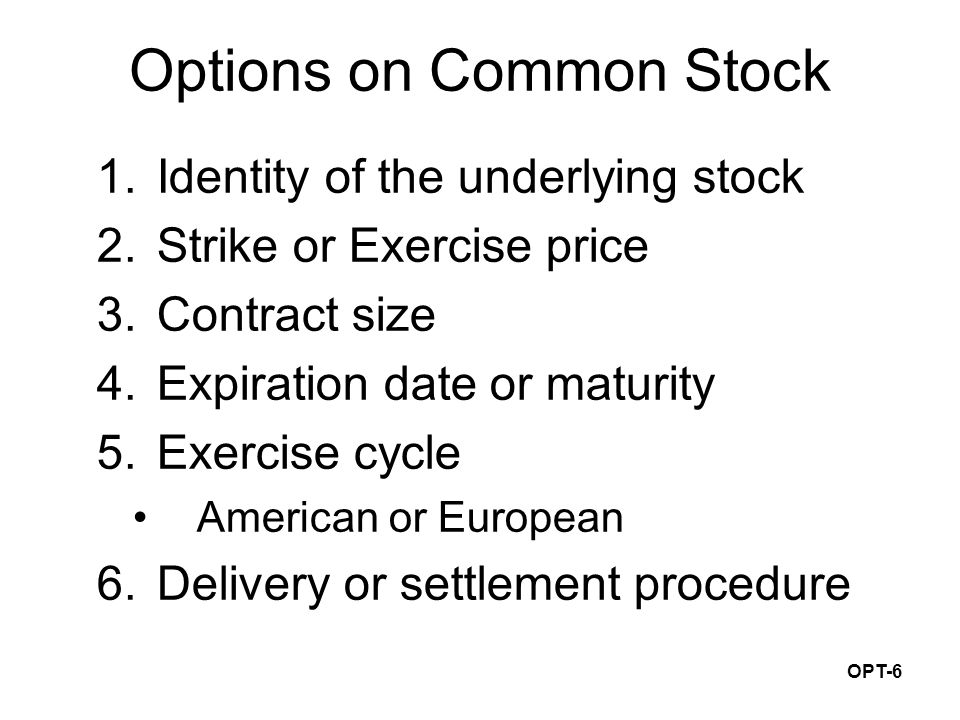 OPT-6 Options on Common Stock 1.Identity of the underlying stock 2.Strike or Exercise price 3.Contract size 4.Expiration date or maturity 5.Exercise cycle American or European 6.Delivery or settlement procedure