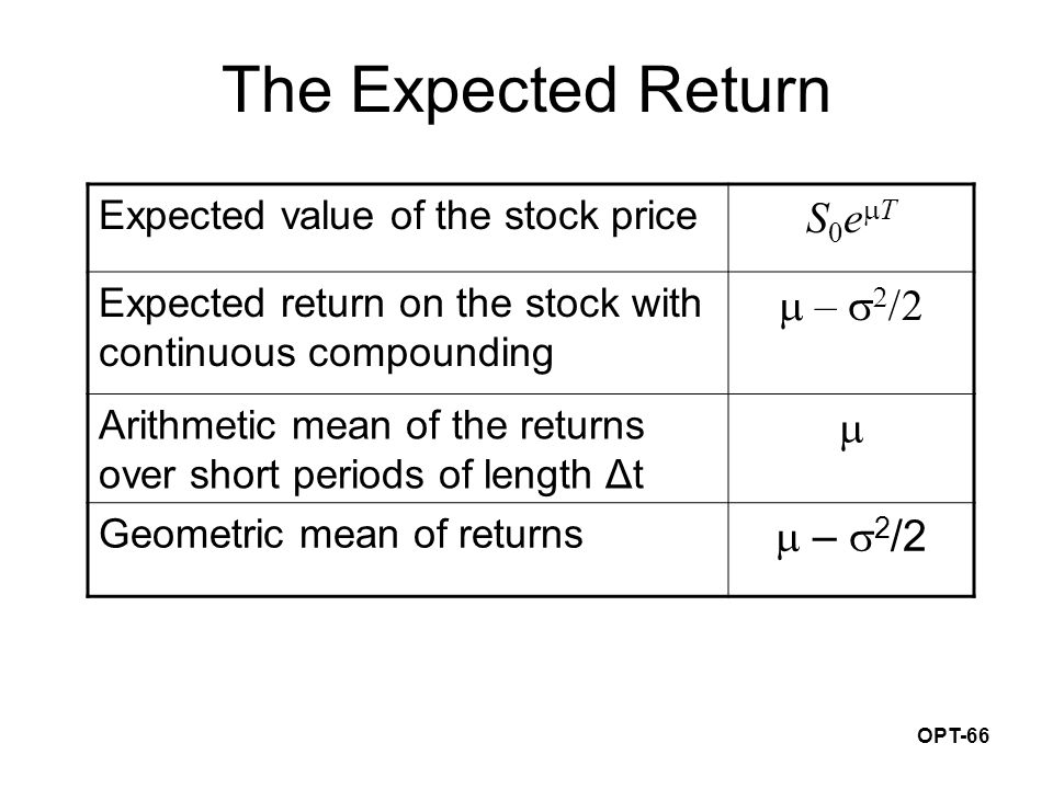 OPT-66 The Expected Return Expected value of the stock price S0eTS0eT Expected return on the stock with continuous compounding  –    Arithmeti