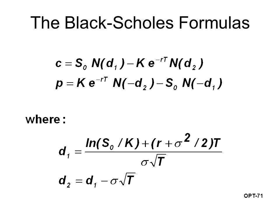 OPT-71 The Black-Scholes Formulas