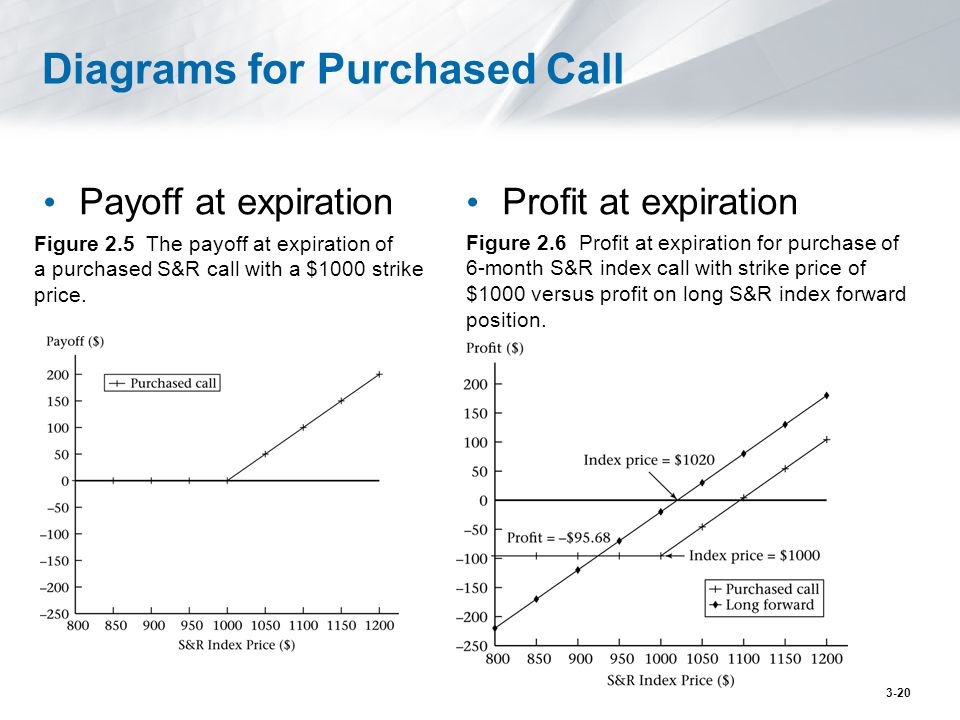 Diagrams for Purchased Call Payoff at expiration Profit at expiration Figure 2.5 The payoff at expiration of a purchased S&R call with a $1000 strike