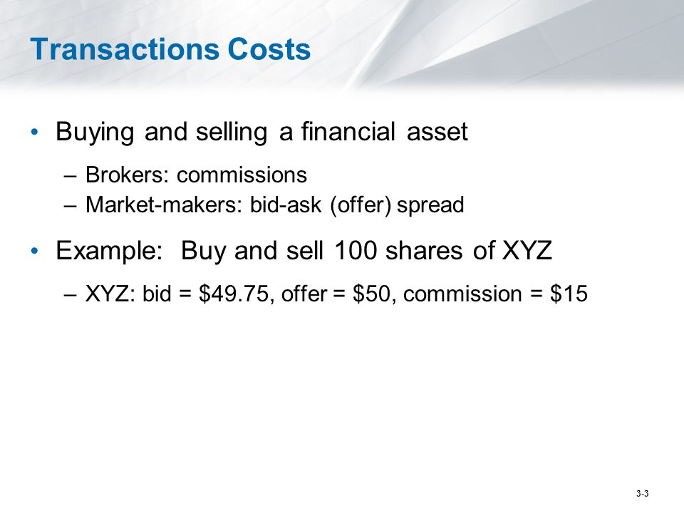 Transactions Costs Buying and selling a financial asset –Brokers: commissions –Market-makers: bid-ask (offer) spread Example: Buy and sell 100 shares